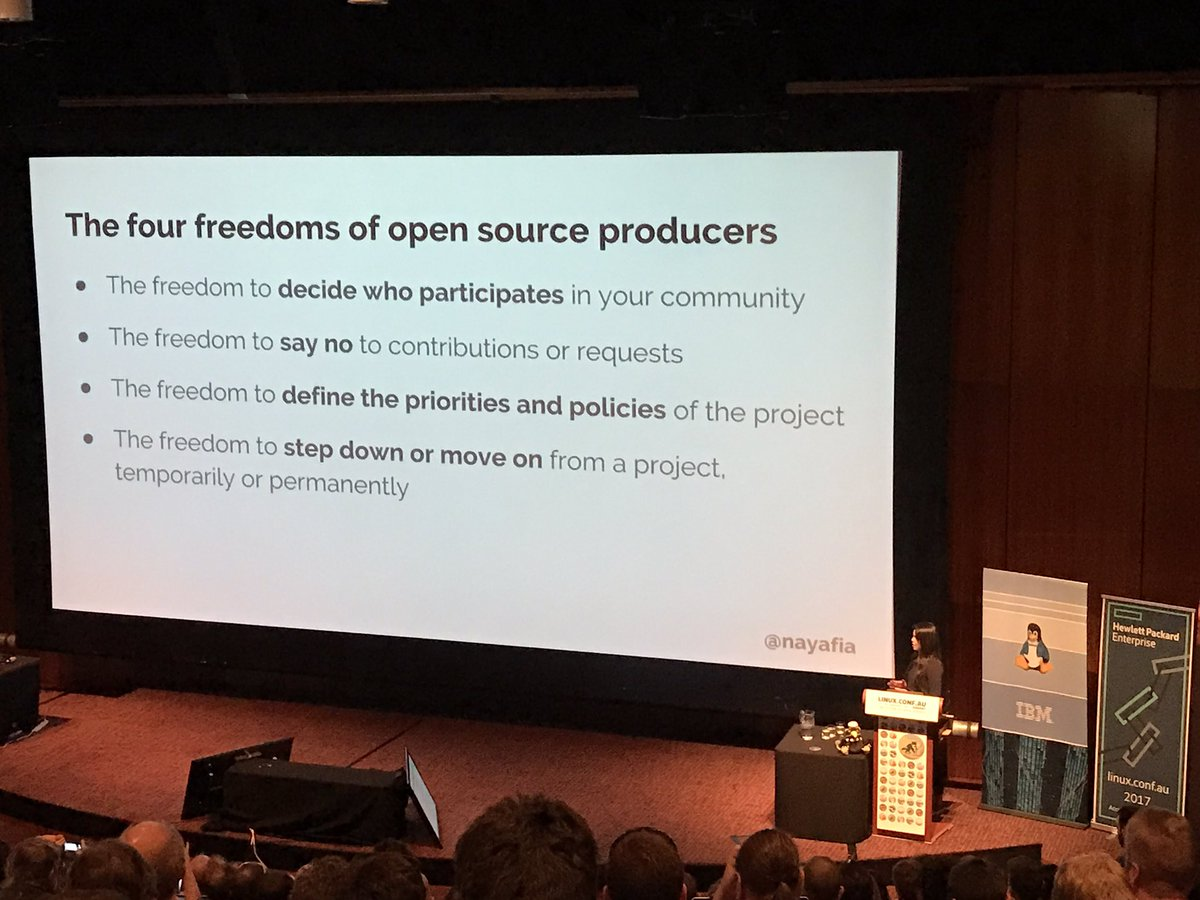 Thought provoking keynote from @nayafia about maintainers of open source, and how they need our help. #lca2017 https://t.co/OzR3GVIj1S