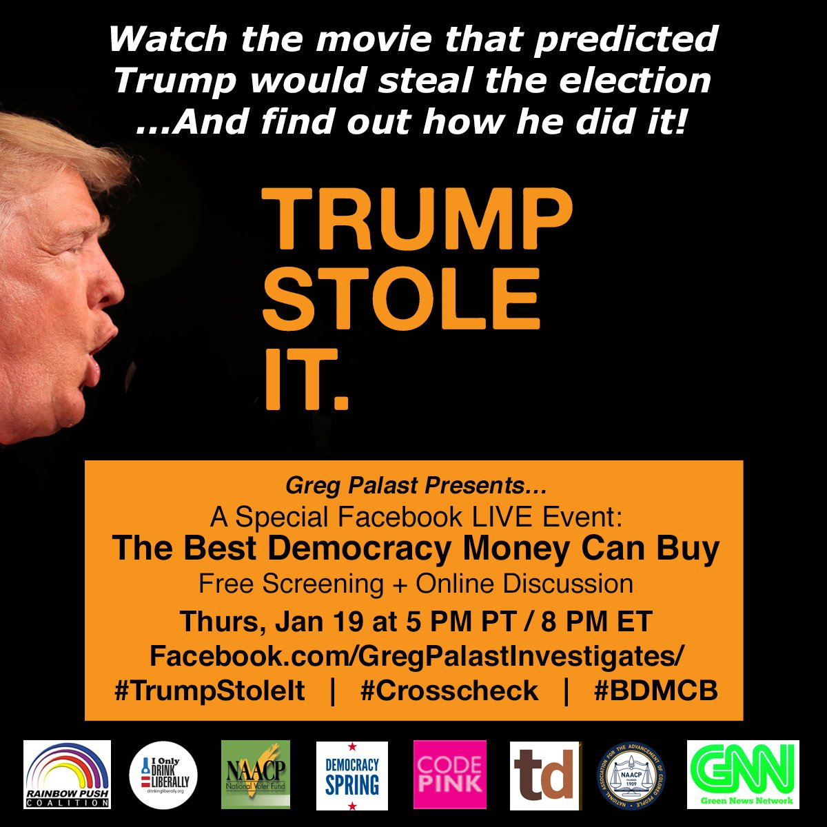 #TrumpStoleIt: A Facebook LIVE Event — 5PM PT / 8PM ET on #Inauguration  Eve  https://www. facebook.com/GregPalastInve stigates/photos/a.430516172127.205520.87777747127/10154931154507128/?type=3&amp;theater &nbsp; …  #Trump #ElectionFraud #TheResistance<br>http://pic.twitter.com/suiskZKCzo