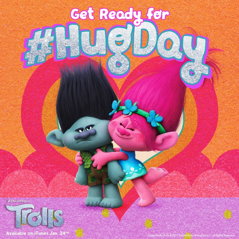 The best holiday of all is #HUGDAY! Only 3 days to go! #TrollsHugDay h...