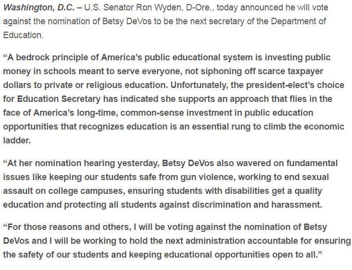 I will vote no on Betsy #DeVos for Education Secretary.  Extremely concerned on a number of levels: https://t.co/LvHCLNdInu