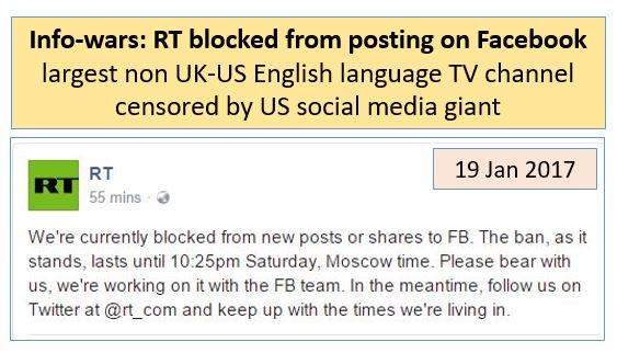 #Facebook censors #RT in #infowars escalation. #FakeNewsMedia battles. @RT_com @facebook. @VanessaBeeley @Partisangirl @EvaKBartlett<br>http://pic.twitter.com/q5w0LNH5Wm