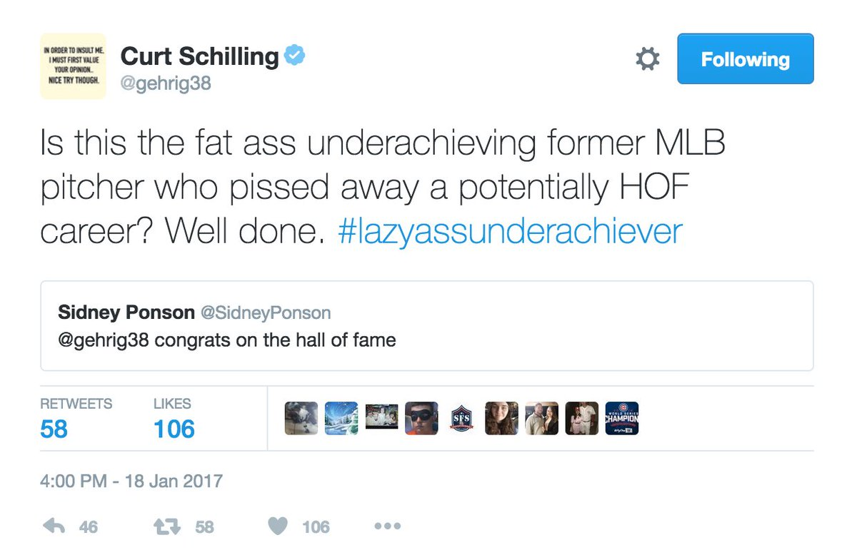 Meanwhile in Curt Schilling-ville, he's arguing with a fake Sidney Ponson on Hall of Fame day https://t.co/e7Kc2FYwQ6