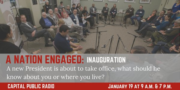 Tune in to tomorrow at 9 a.m. &amp; 7 p.m. for #ANationEngaged community convos with @npr&#39;s @samsanders on 90.9 or  http:// capradio.org  &nbsp;  <br>http://pic.twitter.com/d3UJmSm26D