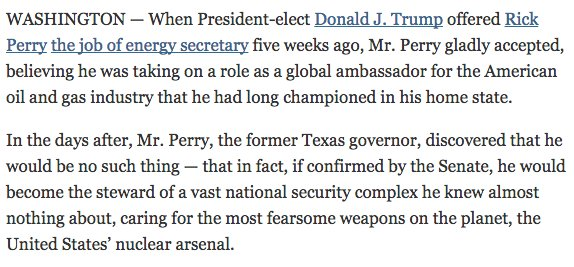 Rick Perry, once proposed to eliminate Energy Dept., then accepted job running it, all before learning what it does https://t.co/UdaKs6xMKs