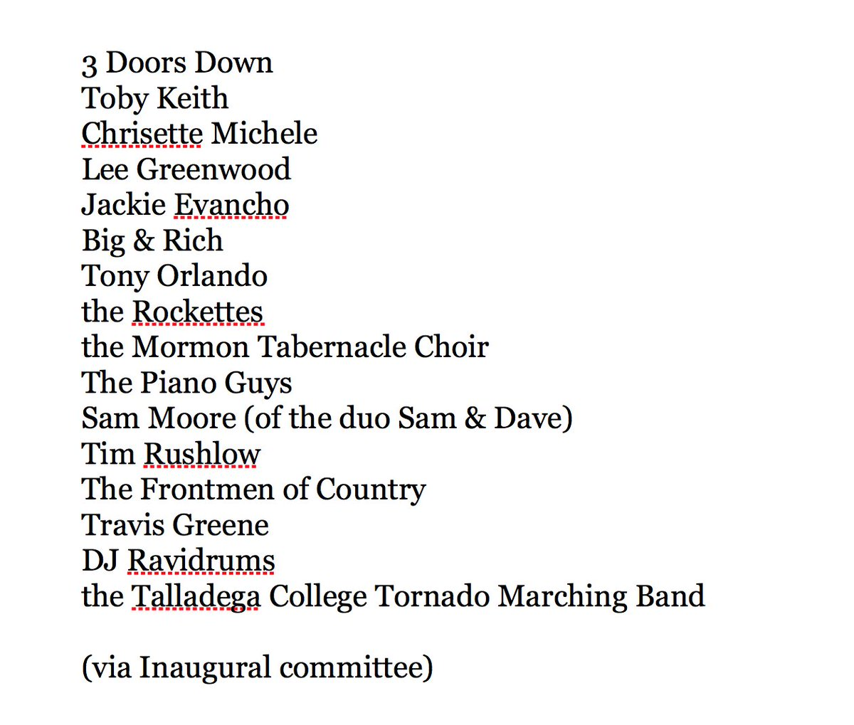 Latest list of entertainers who will perform at Inaugural: https://t.co/rUH352Ajqj