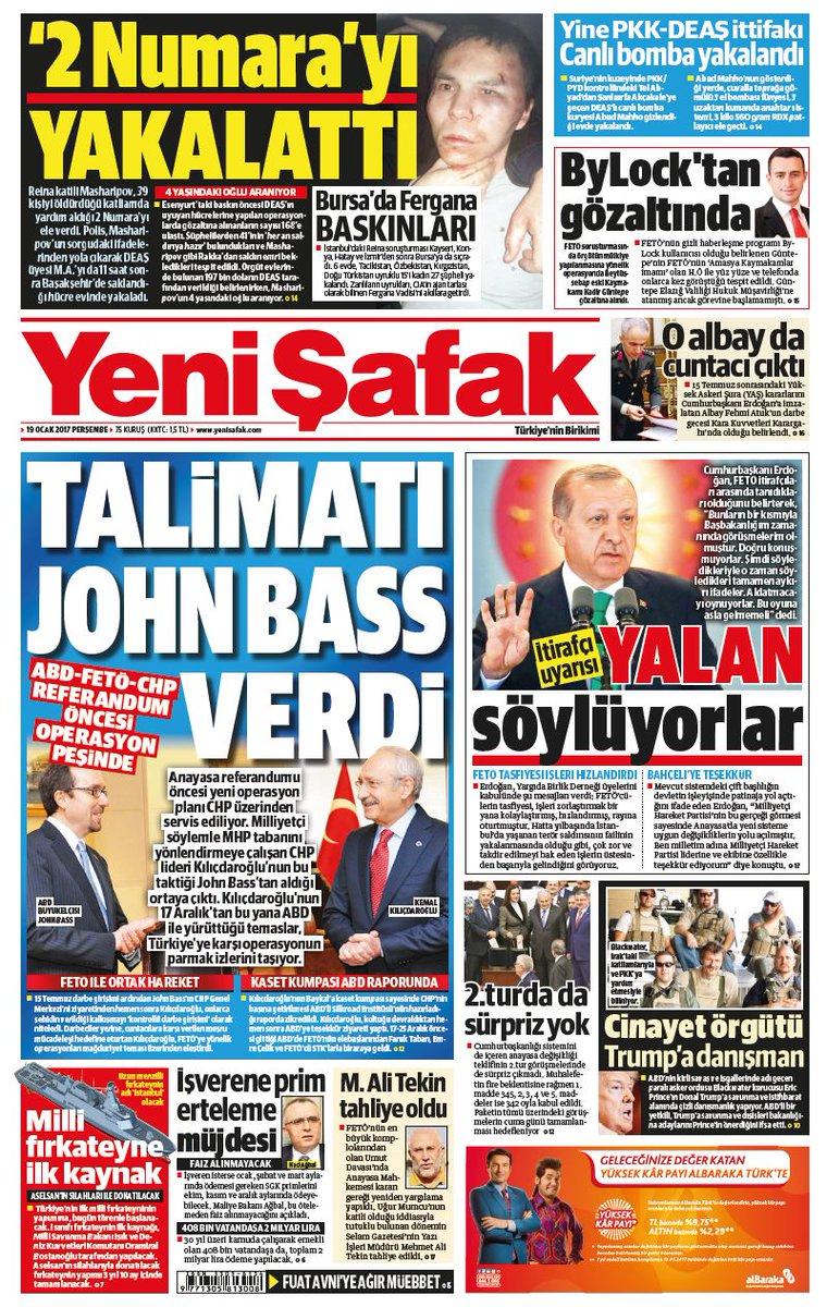 #YeniŞafakManşet Gazetemizin 19.01.2017 tarihli birinci sayfası: TALİM...
