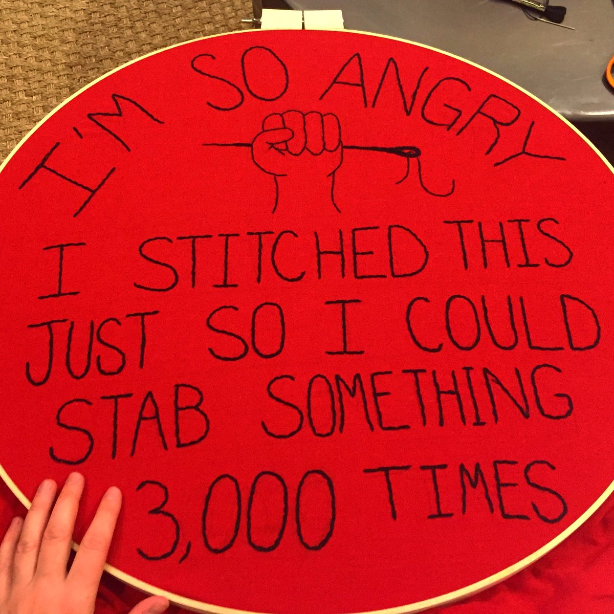 And @womensmarchchi embroidered protest sign is hooped and ready! @womensmarch #notmypresident