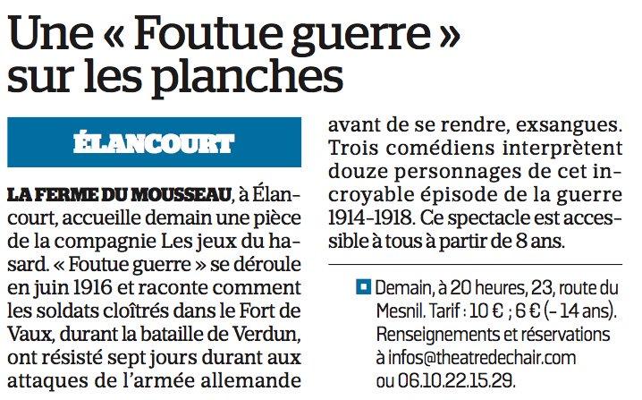 Demain soir, à la Ferme du Mousseau : une « Foutue guerre » sur les planches #theatre #Verdun @VilleElancourt @LaurentMazaury @sqy<br>http://pic.twitter.com/rxCjWnIEfa