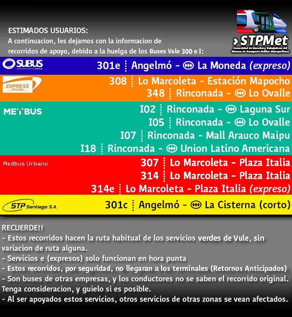 Atentos vecinos! #Quilicura, #ElBosque y #Maipu, Hoy Jueves, habran servicios de apoyo @Transantiago por huelga de @BusesVuleSA. #Informate<br>http://pic.twitter.com/PWuX3wydLh