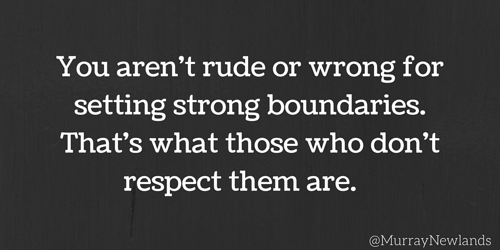 You aren&#39;t rude or wrong for setting strong boundaries. That&#39;s what those who don&#39;t respect them are. #WednesdayWisdom #Boundaries<br>http://pic.twitter.com/eRvTKeDY8j
