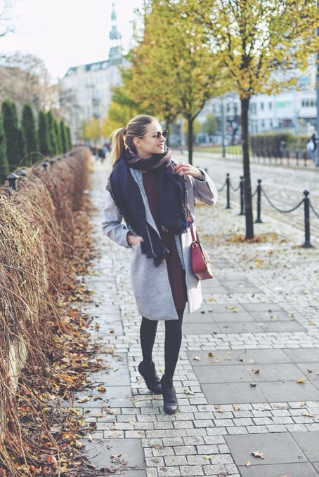 Burgundy dress and grey coat • Juliette in Wonderland