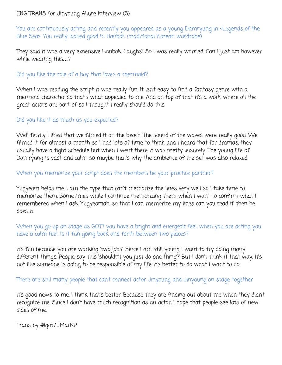 맠 sbabybrd krystal on twitter eng trans for jinyoung allure 6 replies 332 retweets 310 likes