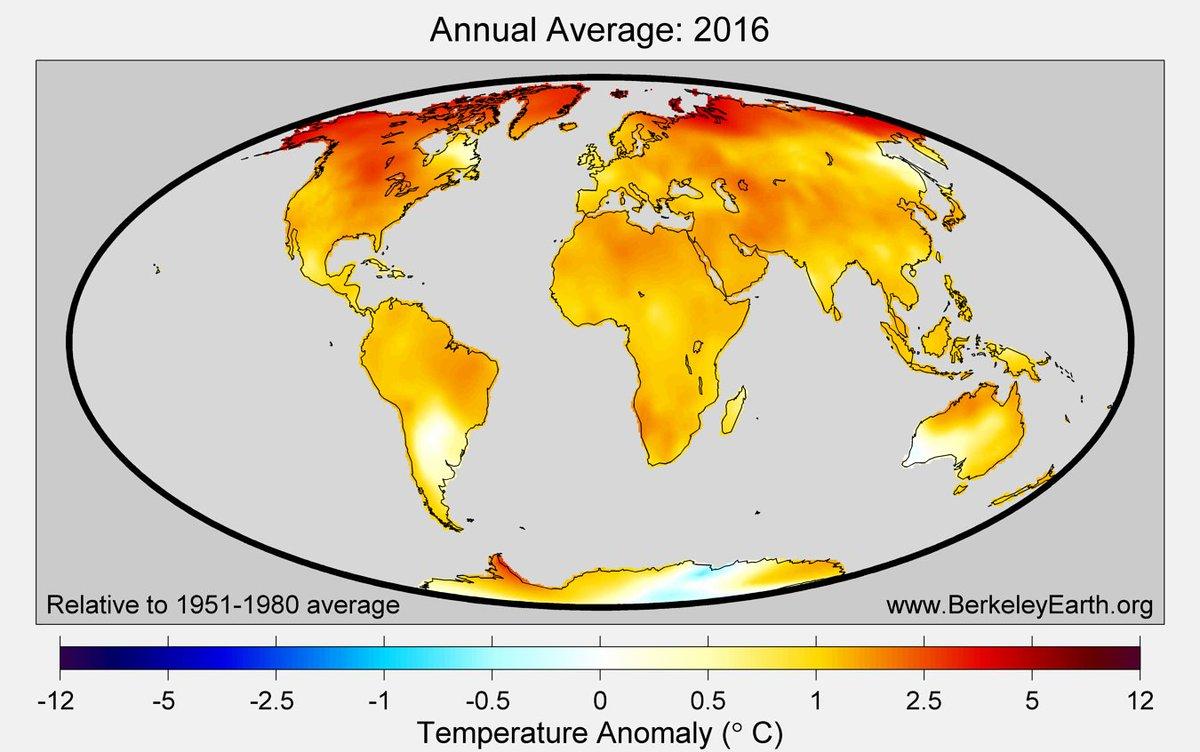 (Presque) toutes les régions ont été plus chaudes en 2016 que la moyenne Le réchauffement climatique se conjugue au PRESENT Partout #COP21 <br>http://pic.twitter.com/IfaPfjSBCA