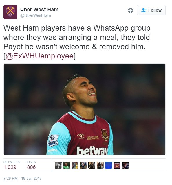 Dimitri Payet removed West Ham players Whatsapp believed removed