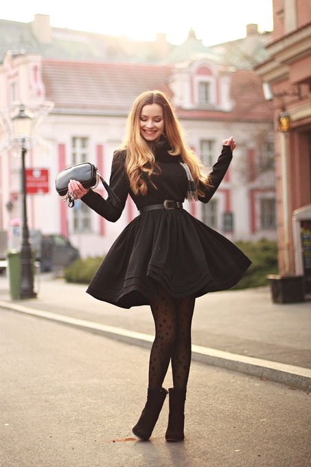 Belette black dress and tights with stars • Juliette in Wonderland