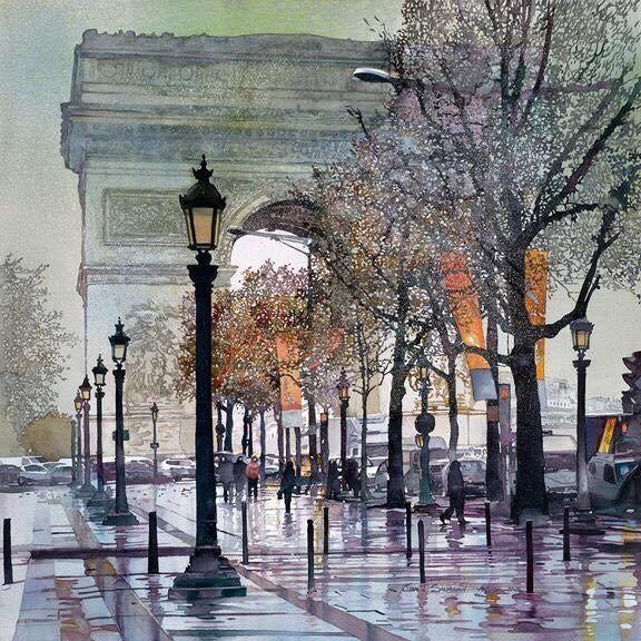Watercolor - Champs Elysées, Paris by John Salminen - #pintura #art #arttwit #paris #painting<br>http://pic.twitter.com/NNDOjL7MTZ