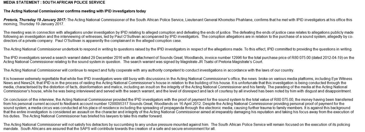 #KhomotsoPhahlane statement on search conducted at his house. He says...