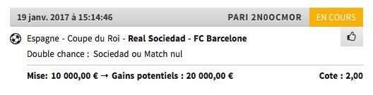 La grosse confiance de ce soir!  #TeamParieur #RealSociedad #Barcelona #FDJ<br>http://pic.twitter.com/A6aLc1PmAB