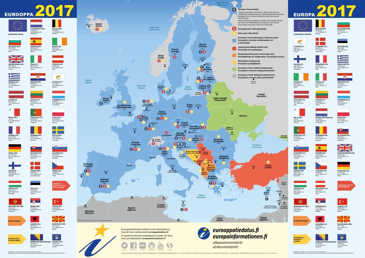 Eurooppatiedotus Twitterissa Eurooppa 2017 Kartta Mme On