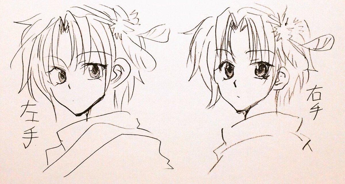左手で描いたユンと右手で描いたユン(左利きです) 中途半端にぎこちない右手絵だけど、左手ダメになった…