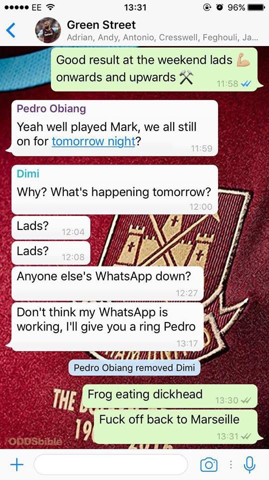 West Ham squads WhatsApp chat has been leaked https://t.co/llYOvhWa05