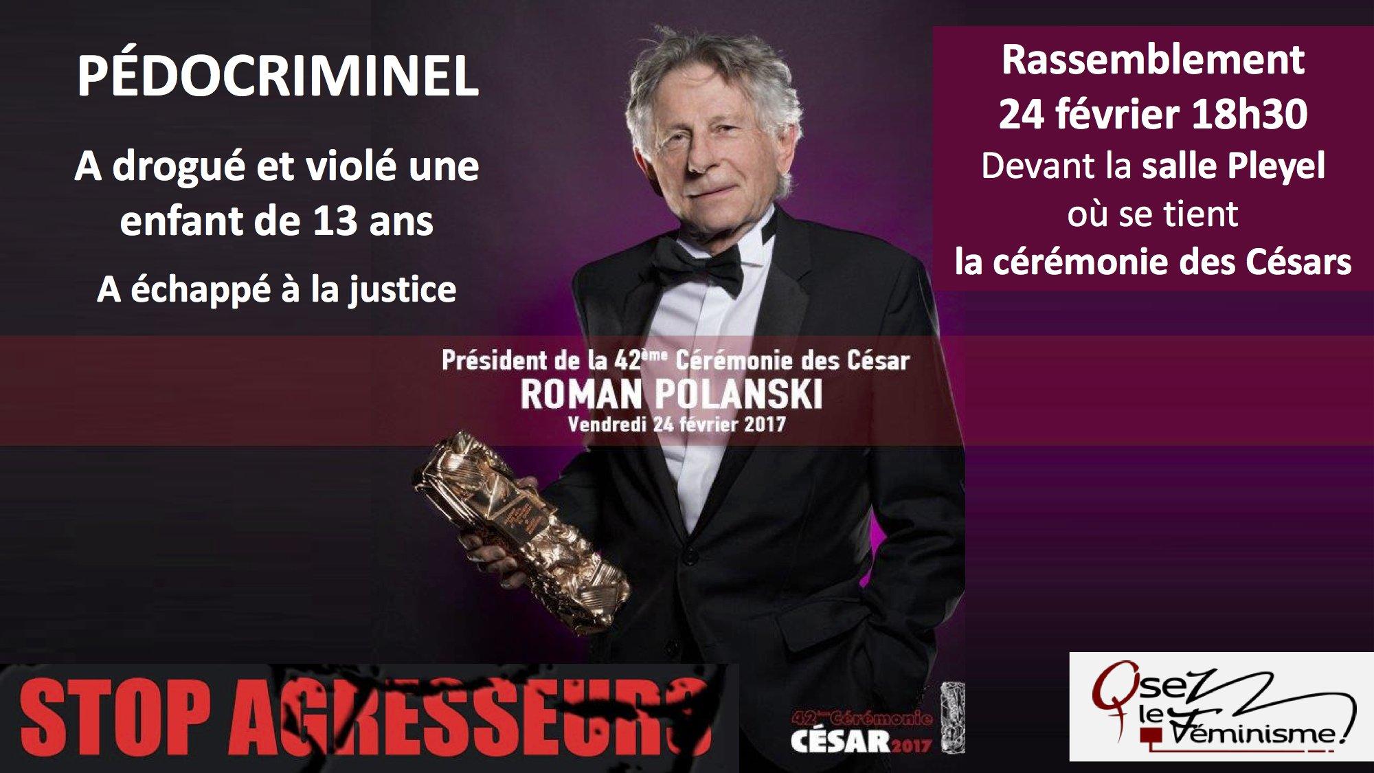 """https://t.co/jIZQayKFyX CP d@osezlefeminisme: """"Polanski nommé psdt des #César2017 par @Les_Cesar: nous avons la nausée!"""" #viol #pédocriminel https://t.co/iv2Kdiaumh"""