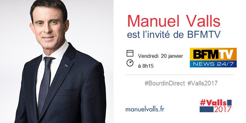 Demain matin, @ManuelValls est l&#39;invité de @JJBourdin_RMC sur @BFMTV #BourdinDirect #Valls2017 <br>http://pic.twitter.com/3JXkMJR57N