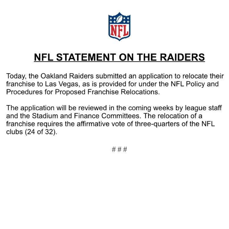 Our statement re Raiders. https://t.co/Ru4BNulNUK