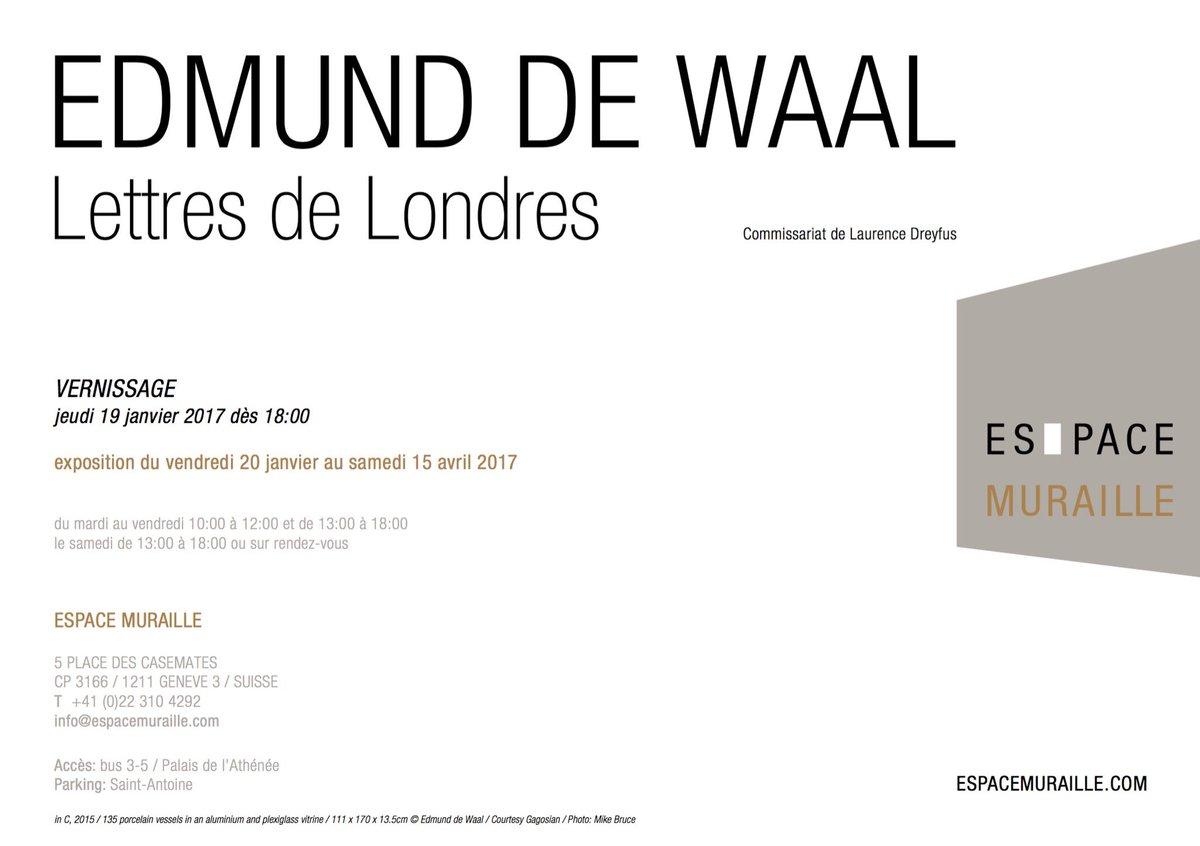 Vernissage Art : #Edmund de Waal Lettres de Londres à l'Espace #Muraille #Genève.<br>http://pic.twitter.com/STCU1sYpEo