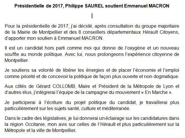 Retrouvez mon communiqué de presse suite à mon soutien à @EmmanuelMacron pour la #Presidentielle2017. #Montpellier @enmarchefr<br>http://pic.twitter.com/kZOYi3XPzH