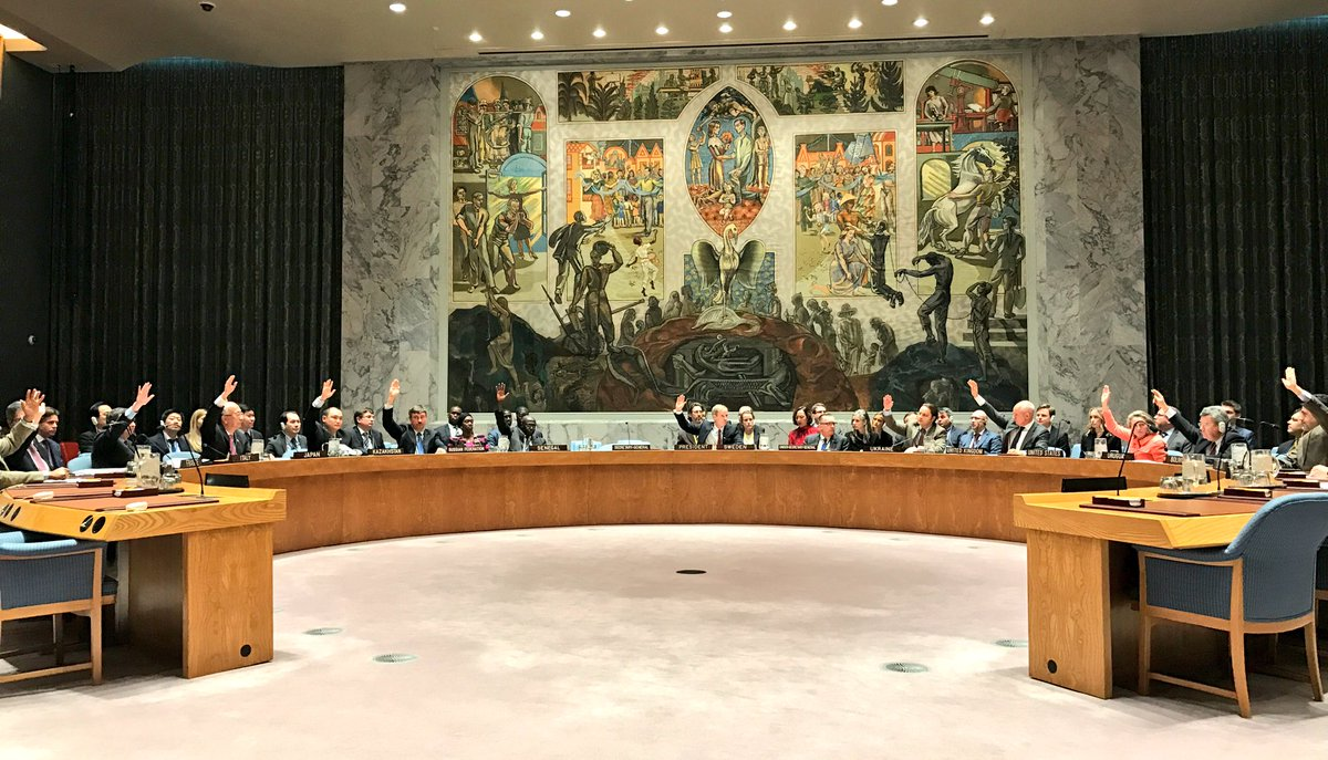 #UNSC unanimously adopts resolution confirming Barrow as legitimate &amp; democratically elected Pres #Gambia. Will of the ppl must b respected.<br>http://pic.twitter.com/dljKFGVmed &ndash; à United Nations Security Council Chamber