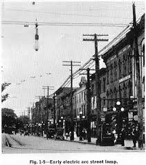1st Electric Lighting System Employing Overhead Wires Built