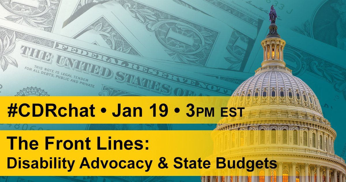 Excited to talk abt how #advocates can engage w/ state budget processes today at 3pm! Follow #CripTheVote #CDRchat: https://t.co/iJklIRT6jv https://t.co/sgW2y5rapr