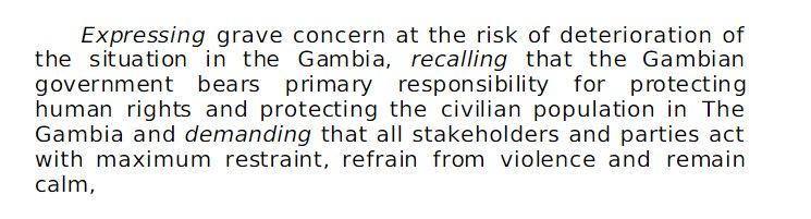 #UNSC unanimously adopts resolution on The #Gambia calling for maximum restraint and to uphold #R2P. Full text:  http:// bit.ly/2k53teY  &nbsp;  <br>http://pic.twitter.com/L8I8mRTXjy