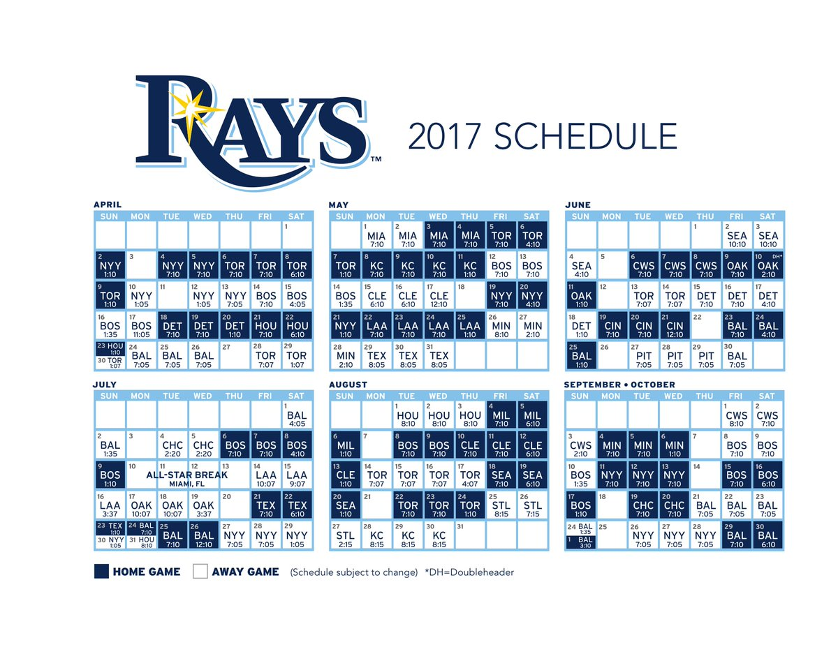 picture about Printable Cubs Schedule identified as Tampa Bay Rays upon Twitter: \