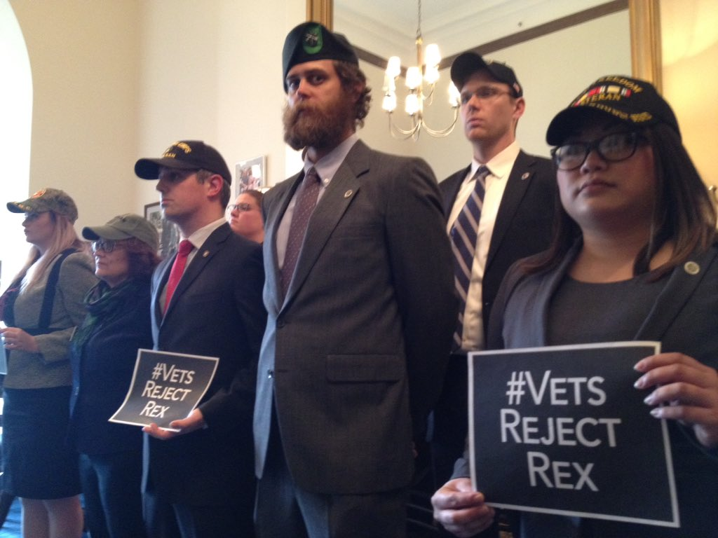 #VetsRejectRex waiting in formation @SenJohnMcCain office until a meeting to demand the NO vote on #RexTillerson as Sec State <br>http://pic.twitter.com/XzLYdQqbJh