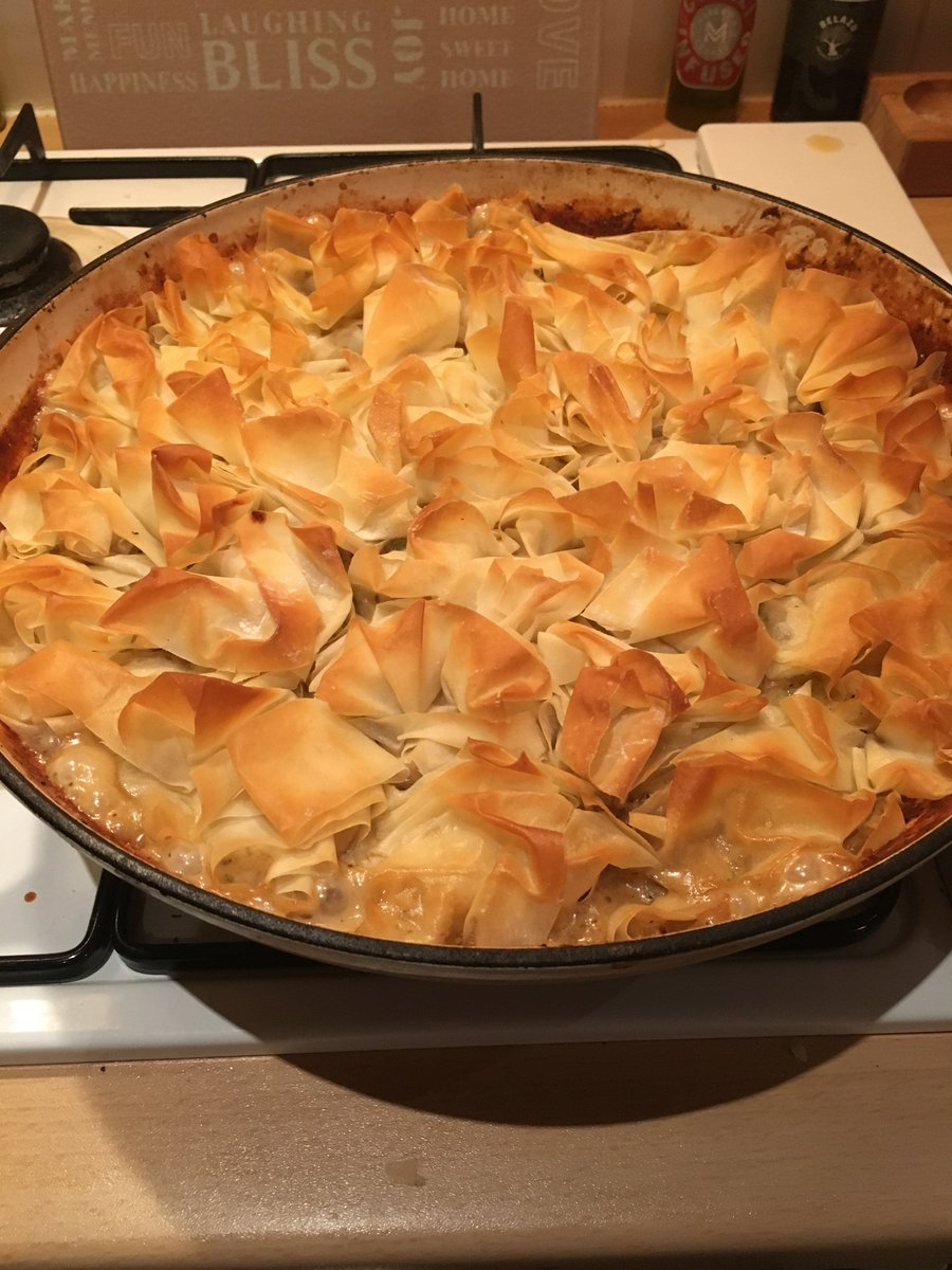@ThisisDavina oh wow your new book is ace ! Chicken FILO pie last night. Pork meatballs tonight