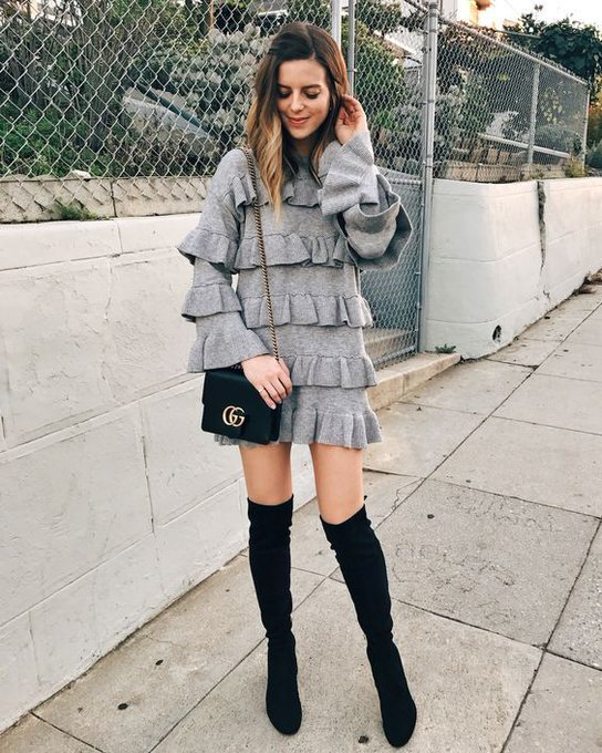GRAY SWEATER DRESS FROM CHICWISH