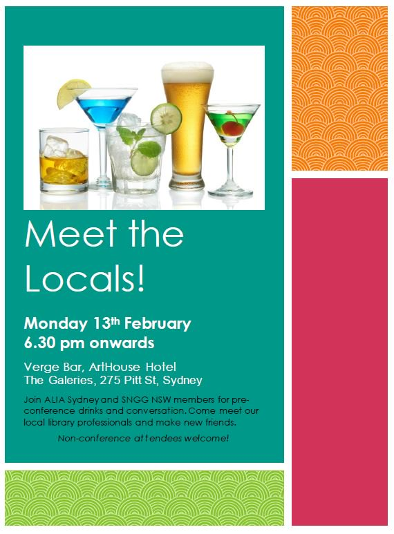 Coming to #online17 or #RSCday2017? Meet the locals for a drink on Monday 13th Feb! Joint event w NSW @ALIANewGrads https://t.co/CHILtWcfQG https://t.co/3O73FKK9qo