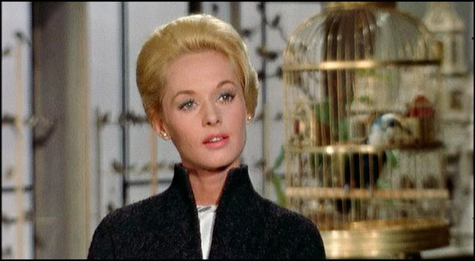 Happy 87th Birthday to actress Tippi Hedren. In Alfred Hitchcock\s THE BIRDS (1963)