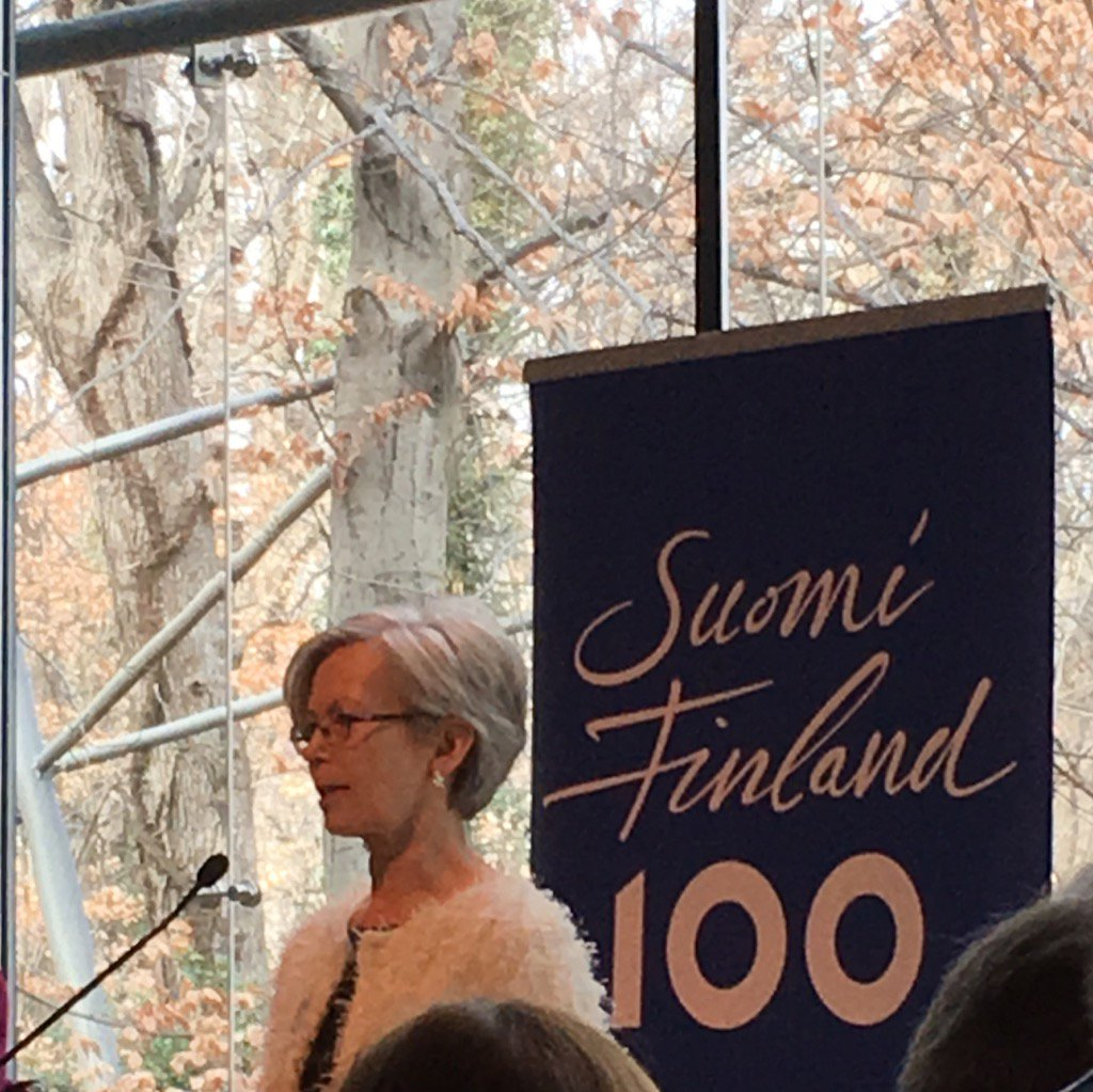 Celebrating #Finland #Suomi&#39;s centennial year w Amb @KirstiKauppi at the beautiful,environmentally certified Embassy<br>http://pic.twitter.com/264m32HAB6