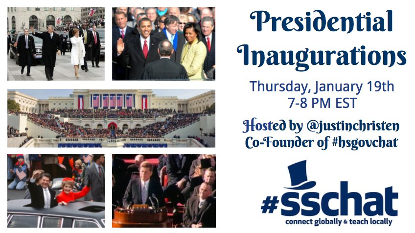 Hello #sschat!  Looking forward to spending the next hour with you to discuss presidential inaugurations!   Qs: https://t.co/DLAYExy2IR https://t.co/Xq5Frm4gEL