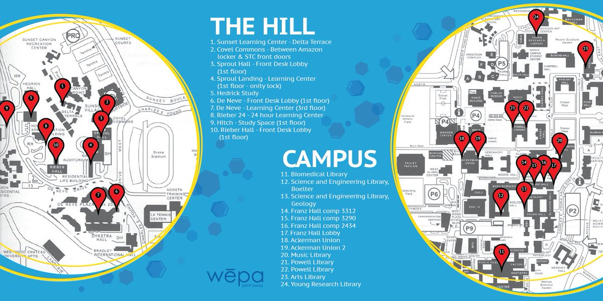 Ucla housing on twitter all students have 5 credit for wepa here is a map of all the wepa locations on the hill and campus httpsty3kulvv0ar gumiabroncs Image collections