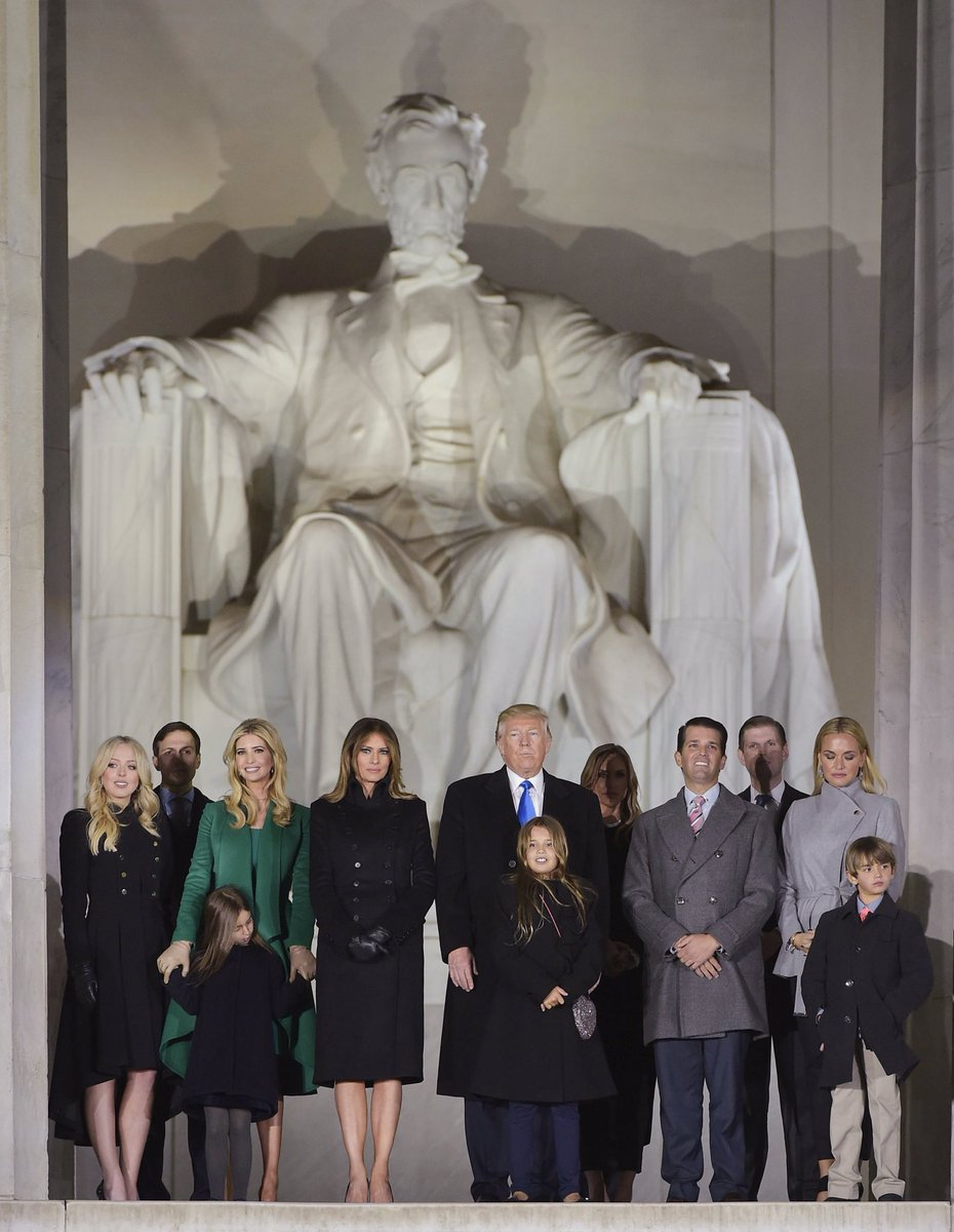 On the steps of the Lincoln Memorial with my father, the 45th president of the United States, and family. #MAGA #Inauguration2017
