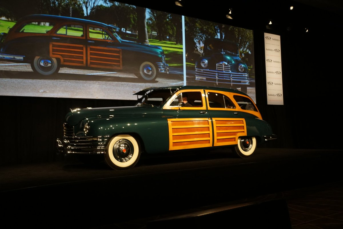 Live @rmsothebys #Phoenix - 1949 #Packard 8 Station Wagon Hammers for $65,000  #Woody <br>http://pic.twitter.com/IYtjMyMnnc