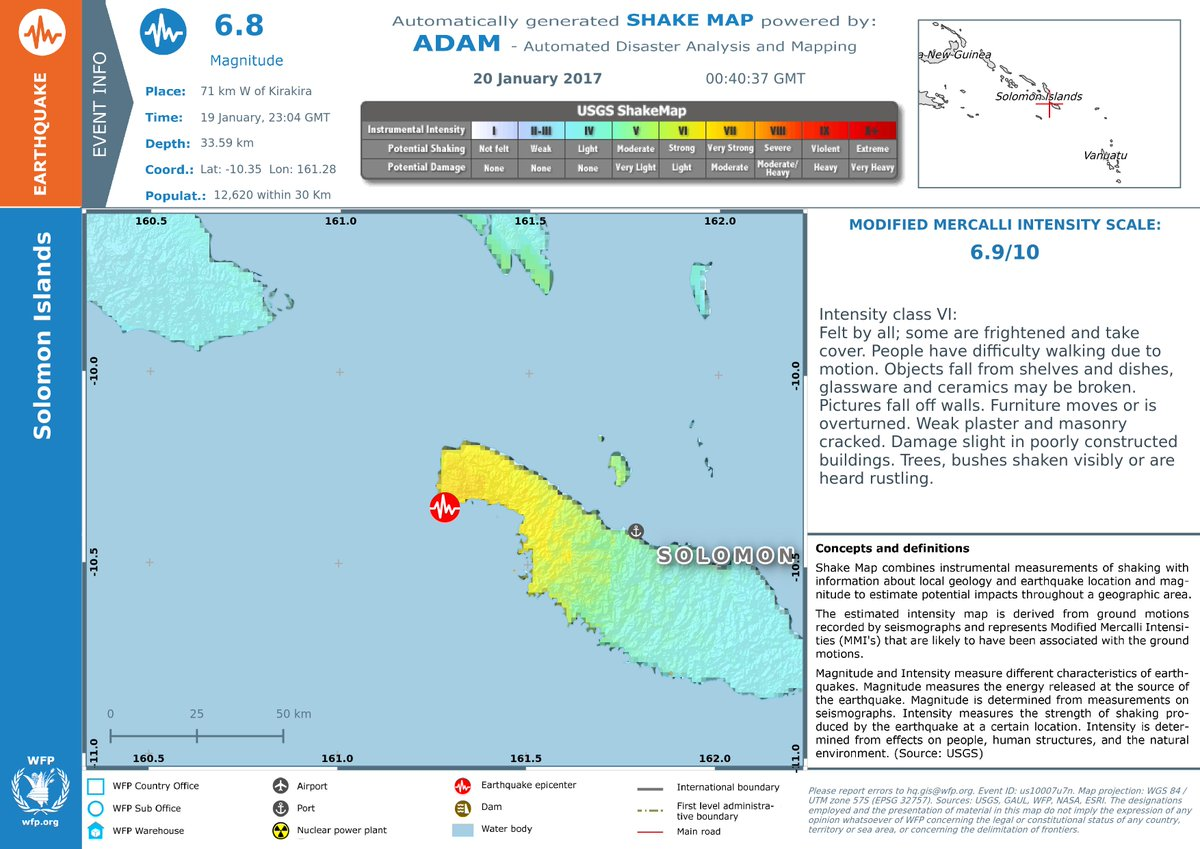 Earthquake in Solomon Islands - Early impact estimation. Modified Mercalli Intensity: 6.9/10