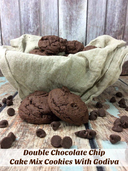 Double Chocolate Chip Cake Mix Cookies With Godiva #Recipe
