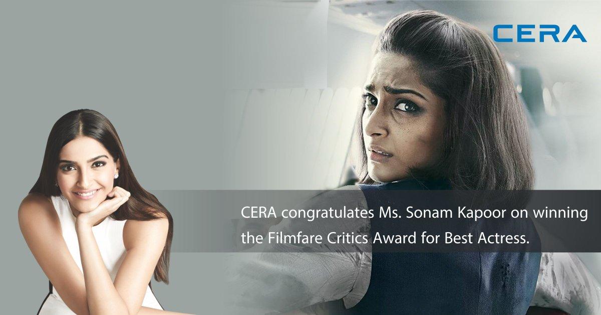 #Congratulations #SonamKapoor #Neerja #Awards #Filmfare  #CERA <br>http://pic.twitter.com/f9uZWm3gQ8