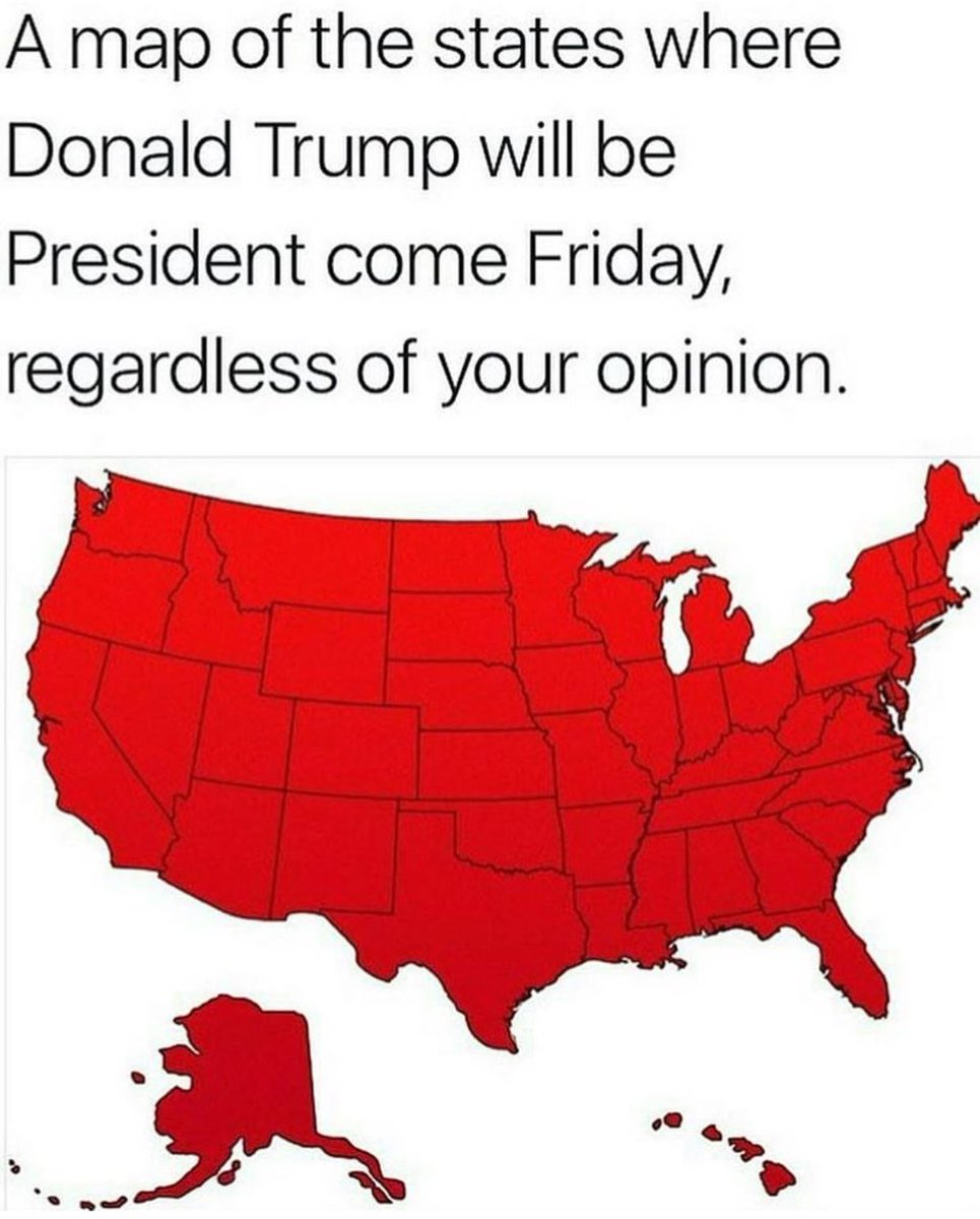 A map of the states where Trump will be president tomorrow... regardless of your opinion. #TrumpInauguration