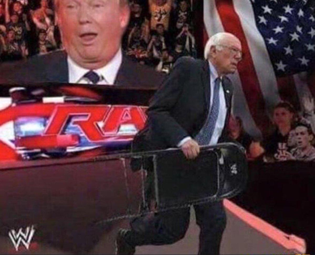 Image result for bernie sanders trump wrestling